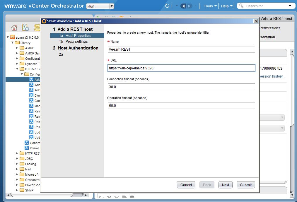 Автоматизация задач резервного копирования с помощью vCenter Orchestrator через Veeam Restful API - 3