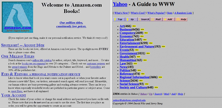 Yahoo! и Amazon, 1995