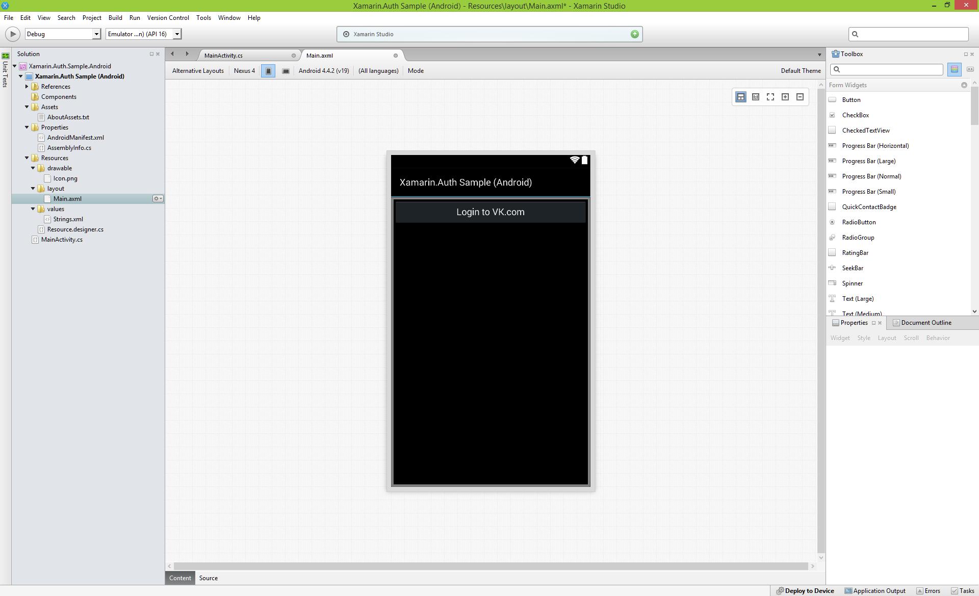 Авторизация и использование VK.com API в Xamarin.Android - 6