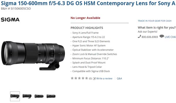 Объектив Sigma 150-600mm F/5-6.3 DG OS HSM Sports в США стоит почти $2000