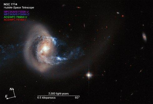 Опубликовано уникальное фото NASA о столкновении двух галактик