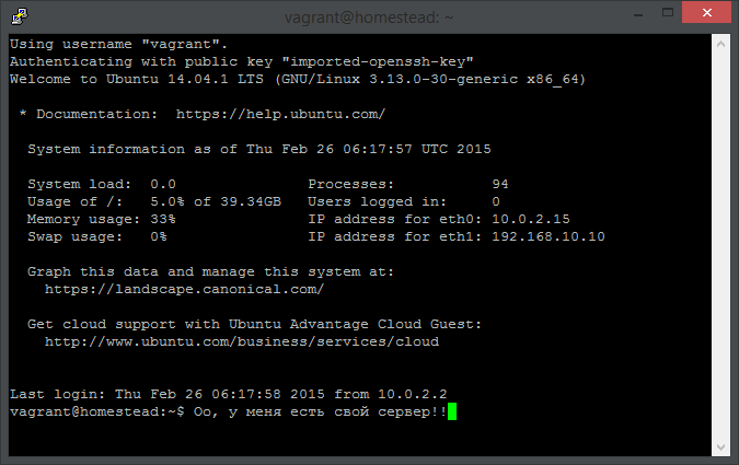 Vagrant для малышей, или как на Windows легко получить настроенный сервер для разработки веб-приложений - 5