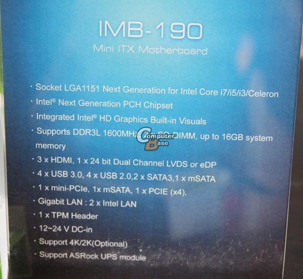 ASRock IMB-190, спецификации