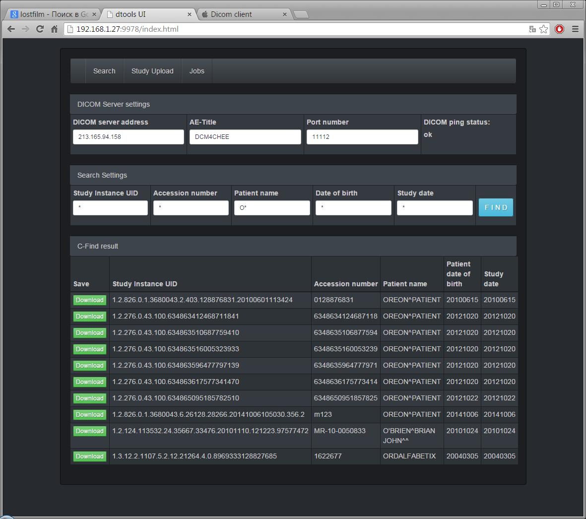 Простой DICOM клиент на GO с балансировщиком задач и веб-интерфейсом - 2
