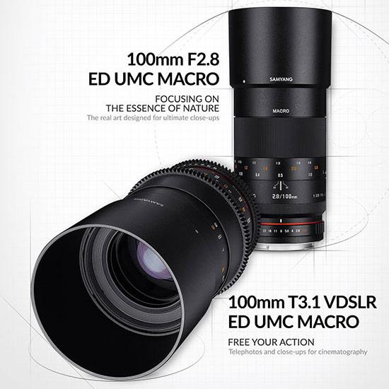 Представлены объективы Samyang 100mm F2.8 ED UMC Macro и 100mm T3.1 VDSLR ED UMC Macro