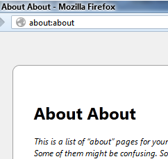 Страница about:about в Firefox - 1