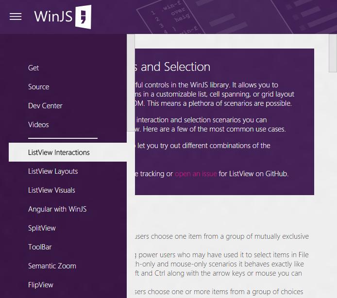 Анонсирована превью-версия WinJS 4.0: универсальный UX, интеграция с AngularJS, обновленный ListView - 4