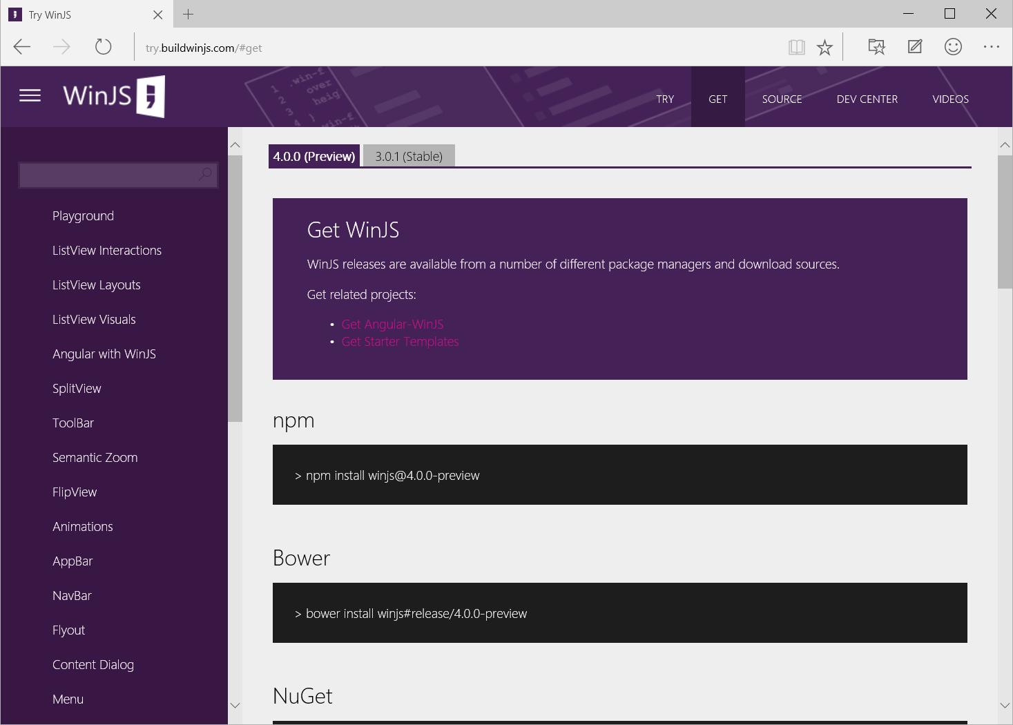Анонсирована превью-версия WinJS 4.0: универсальный UX, интеграция с AngularJS, обновленный ListView - 1