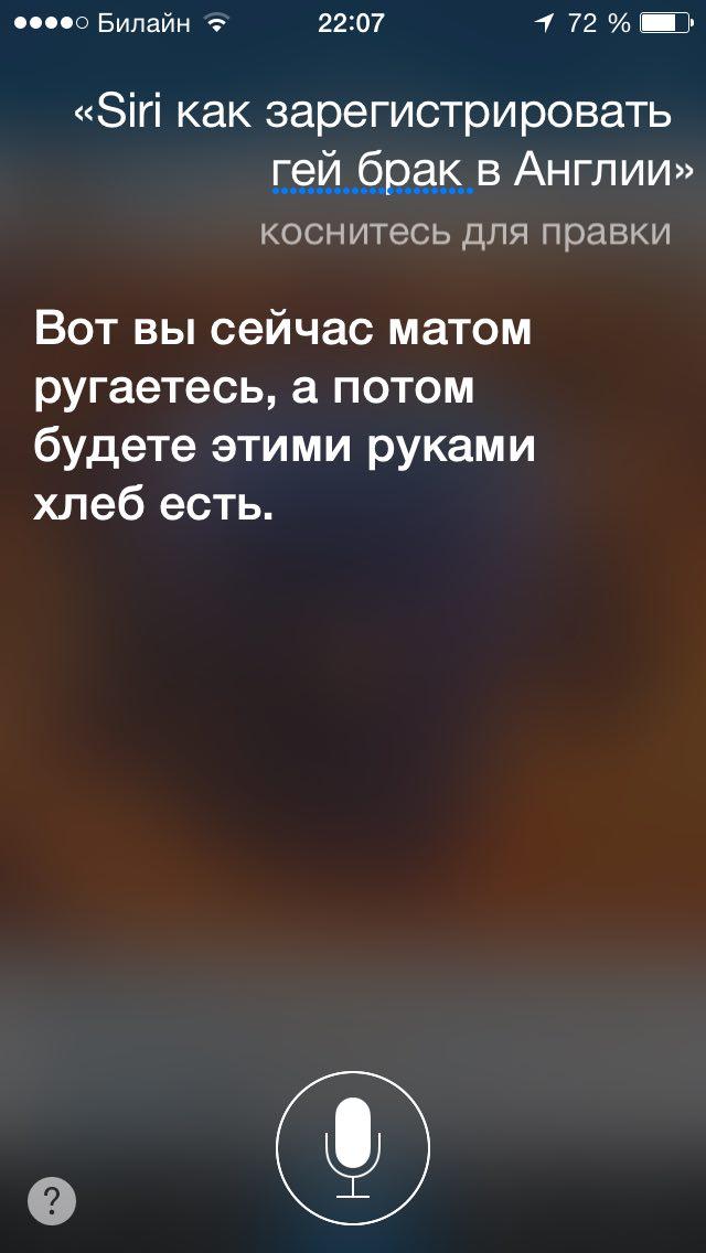Русская Siri перестала воспринимать запросы о геях как ругательные - 1