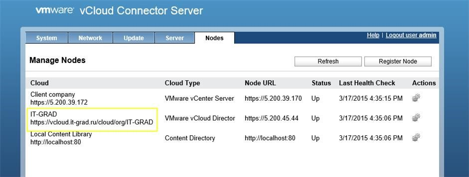 Пример регистрации vCloud Connector Node в консоли vCloud Connector Server