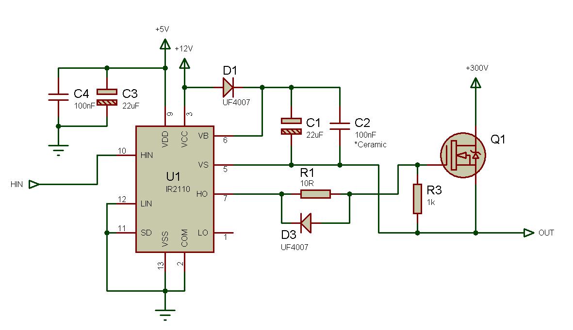 Использование драйвера ключей нижнего и верхнего уровней IR2110 — объяснение и примеры схем - 10