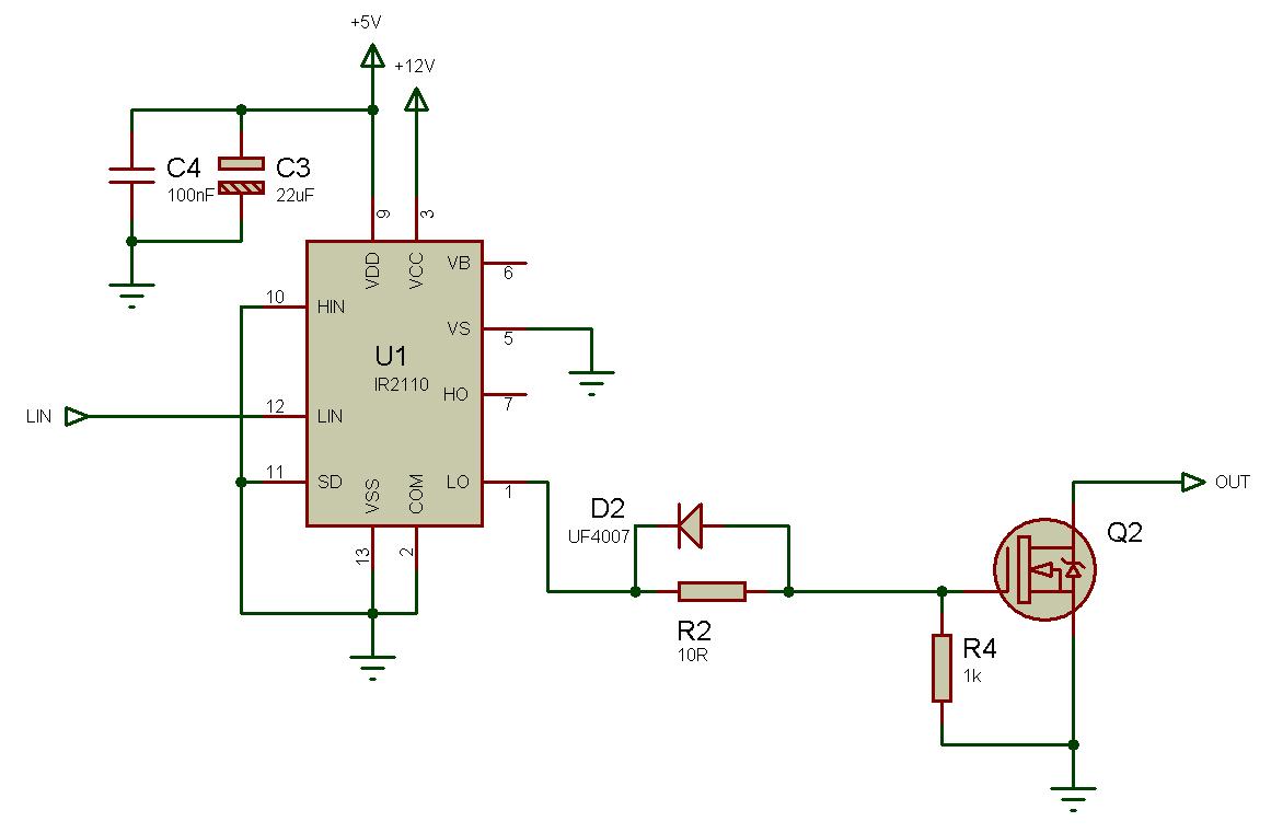 Использование драйвера ключей нижнего и верхнего уровней IR2110 — объяснение и примеры схем - 11