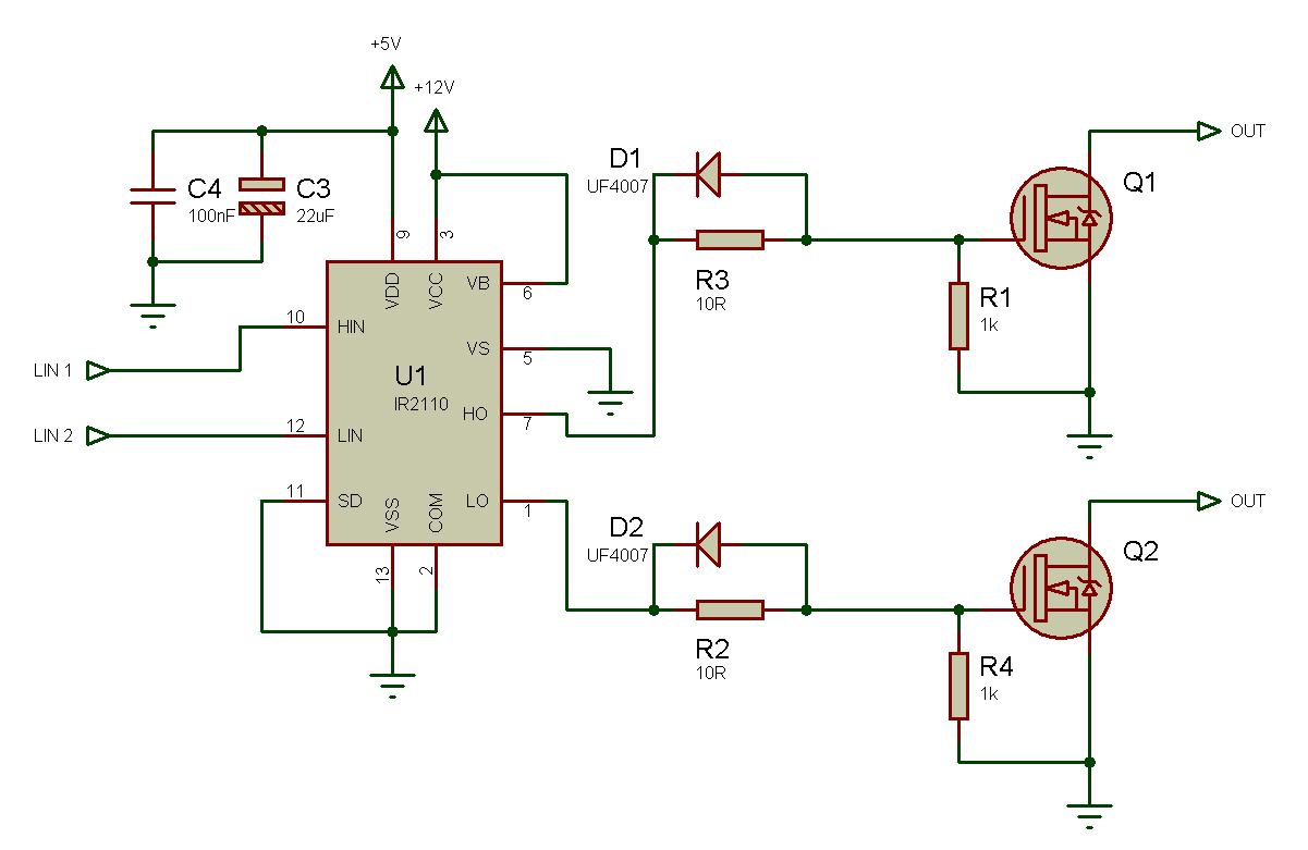 Использование драйвера ключей нижнего и верхнего уровней IR2110 — объяснение и примеры схем - 12