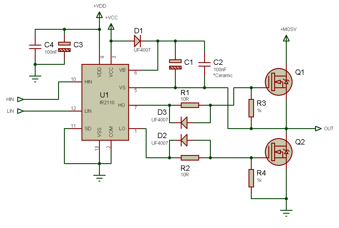 Использование драйвера ключей нижнего и верхнего уровней IR2110 — объяснение и примеры схем - 6