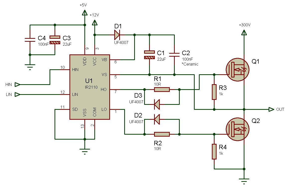 Использование драйвера ключей нижнего и верхнего уровней IR2110 — объяснение и примеры схем - 7