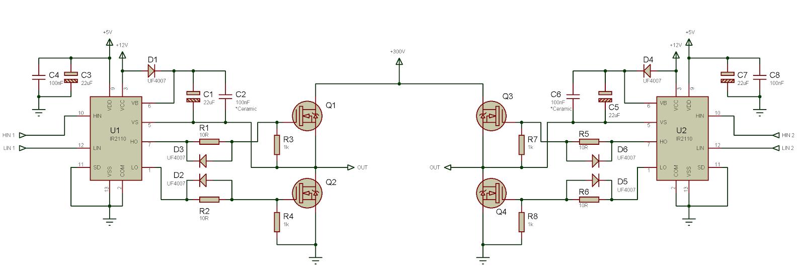 Использование драйвера ключей нижнего и верхнего уровней IR2110 — объяснение и примеры схем - 8
