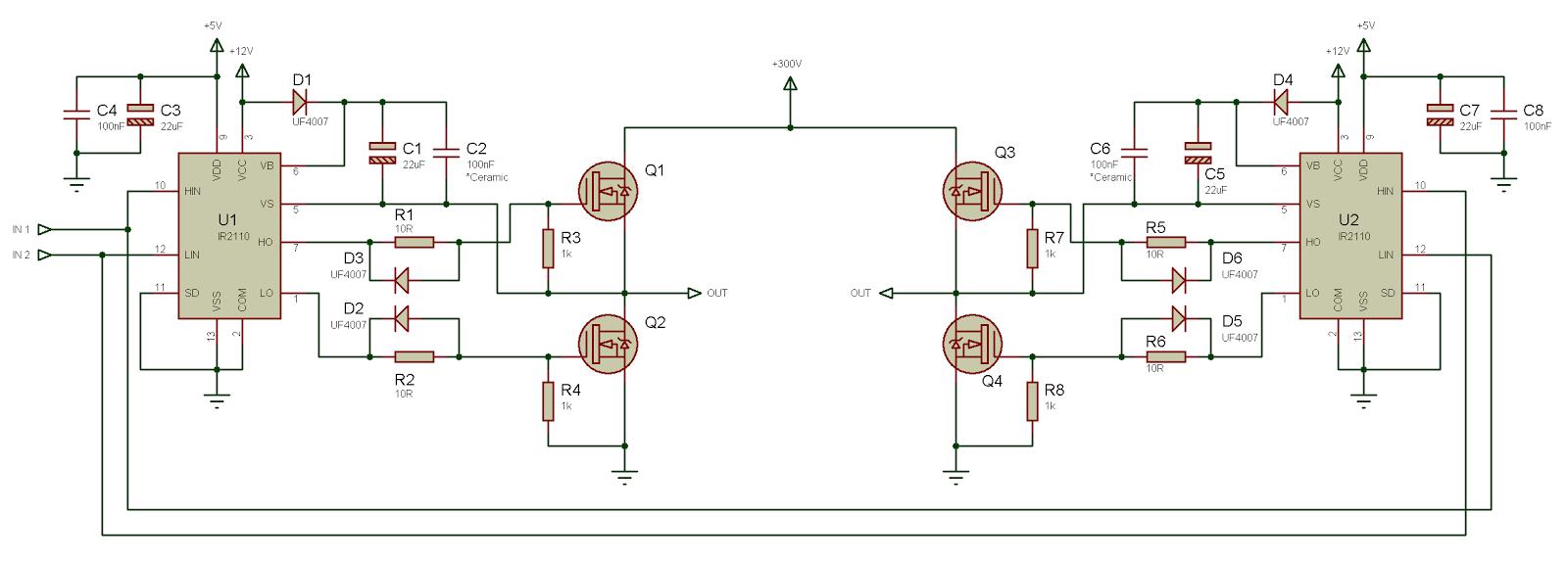 Использование драйвера ключей нижнего и верхнего уровней IR2110 — объяснение и примеры схем - 9