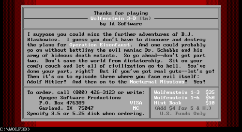 Wolfenstein 3D shareware screen