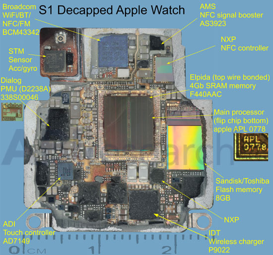 В часах Apple Watch можно встретить микросхемы Broadcom, Dialog, NXP, AMS, IDT, Elpida, SanDisk, Toshiba, STM и ADI
