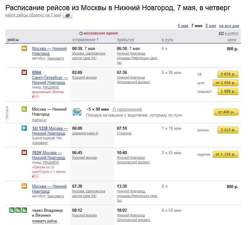 Виджет BlaBlaCar в Яндекс.Расписаниях