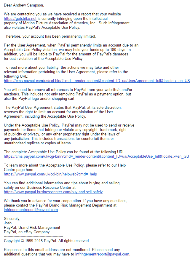 PayPal заморозила счет разработчика сервиса поиска по торрентам после жалобы MPAA - 2