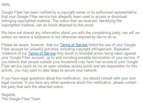 Google Fiber рассылает сообщения-штрафы правообладателей абонентам-«пиратам» - 2