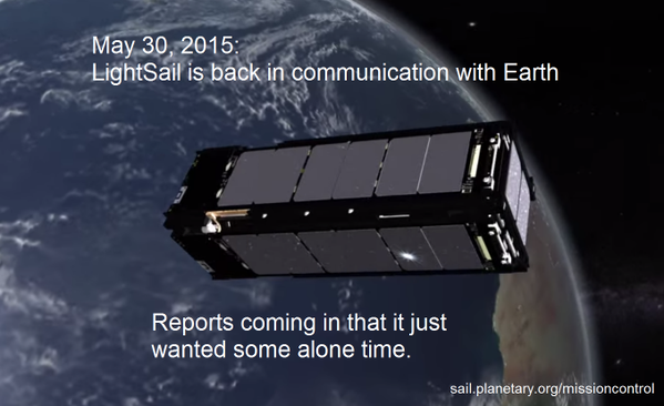 После нескольких дней молчания LightSail вернулся на связь - 1