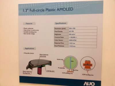 AUO выпускает одну круглую и четыре прямоугольных модели панелей AMOLED