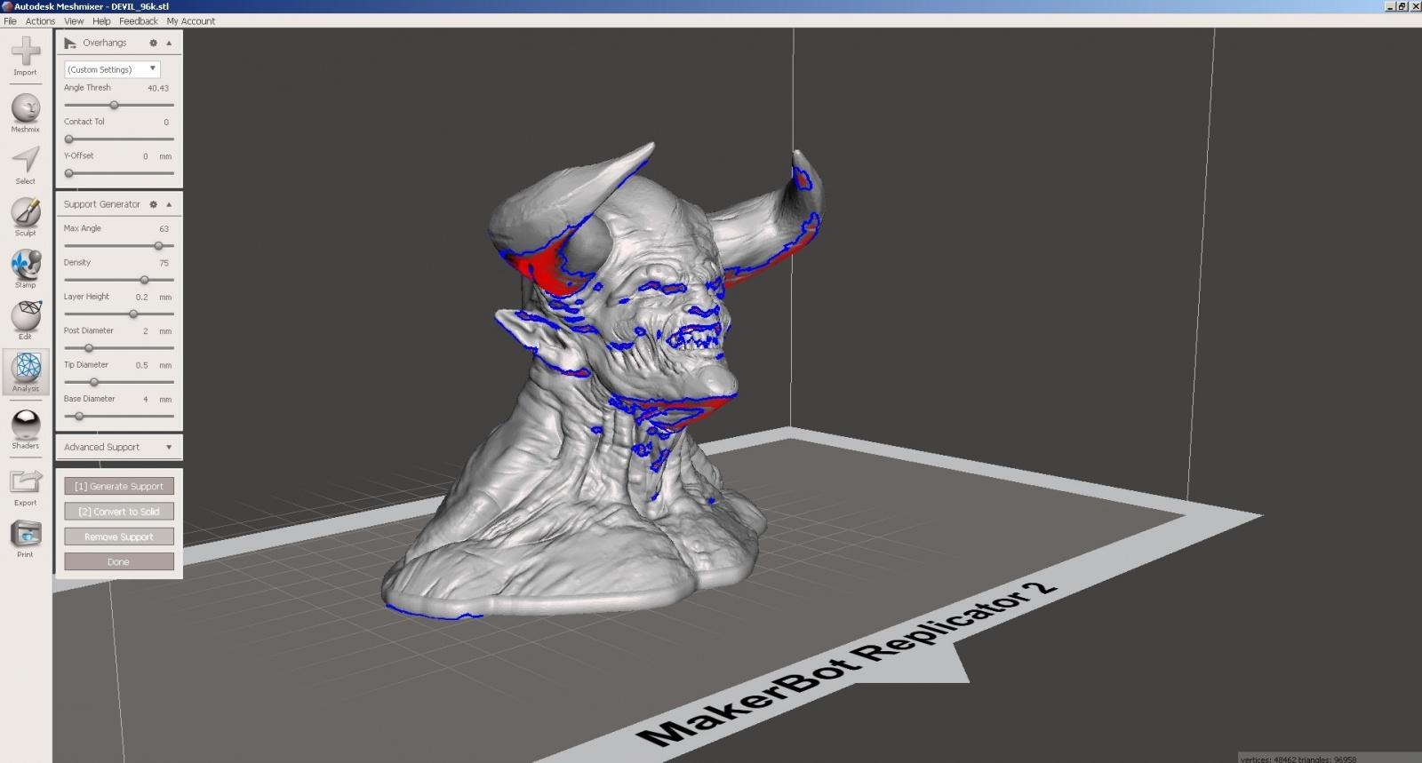 Обзор функции генерации поддержек в Autodesk Meshmixer - 10