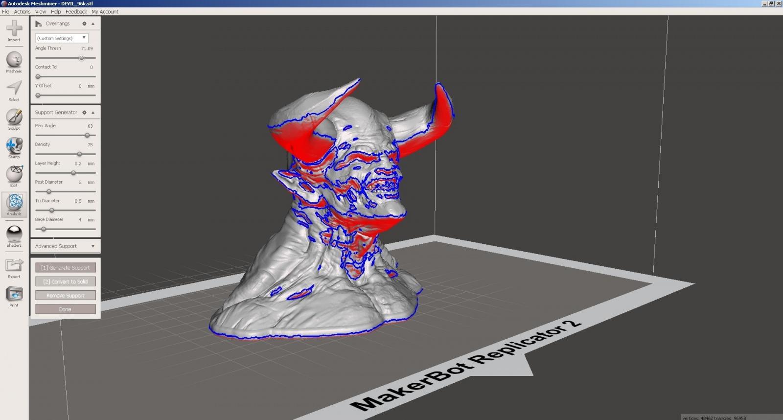 Обзор функции генерации поддержек в Autodesk Meshmixer - 11