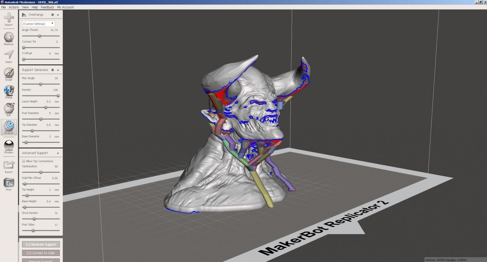 Обзор функции генерации поддержек в Autodesk Meshmixer - 12