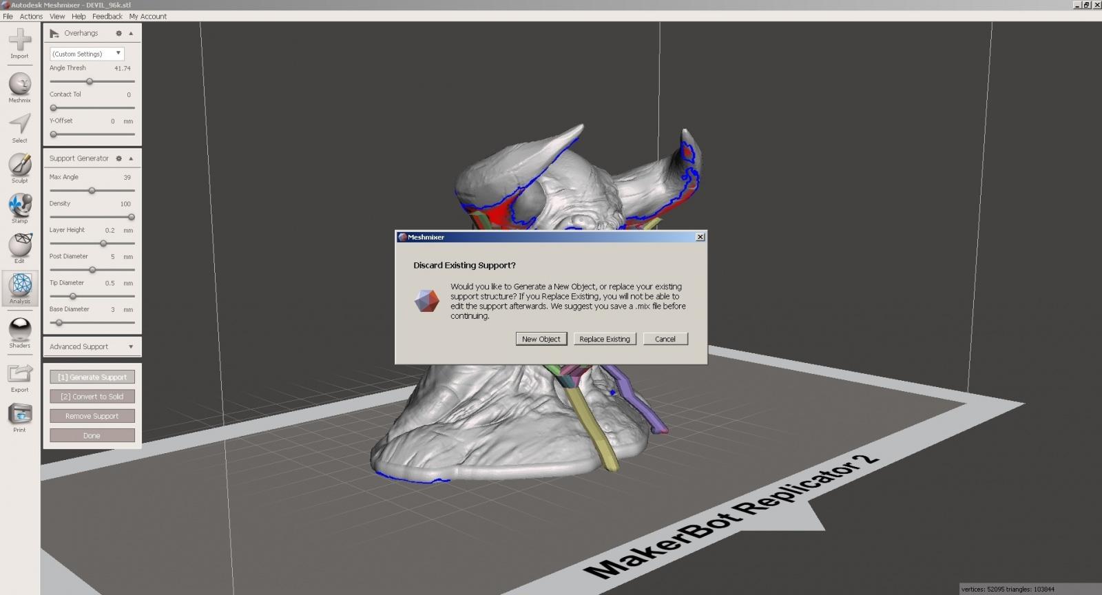 Обзор функции генерации поддержек в Autodesk Meshmixer - 13