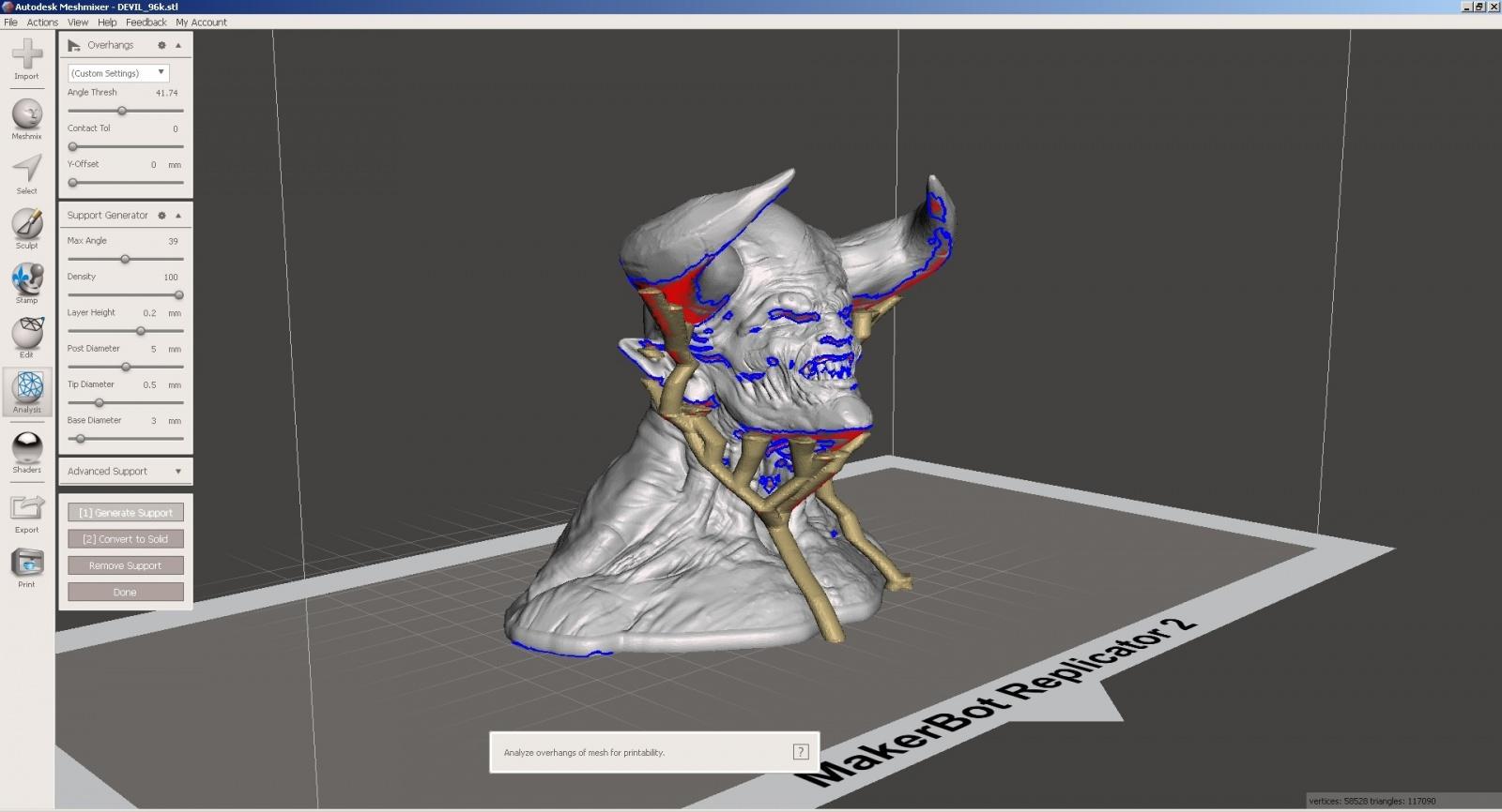 Обзор функции генерации поддержек в Autodesk Meshmixer - 14