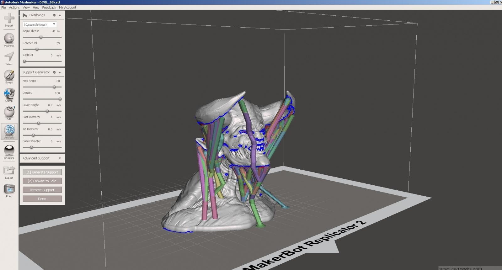 Обзор функции генерации поддержек в Autodesk Meshmixer - 15