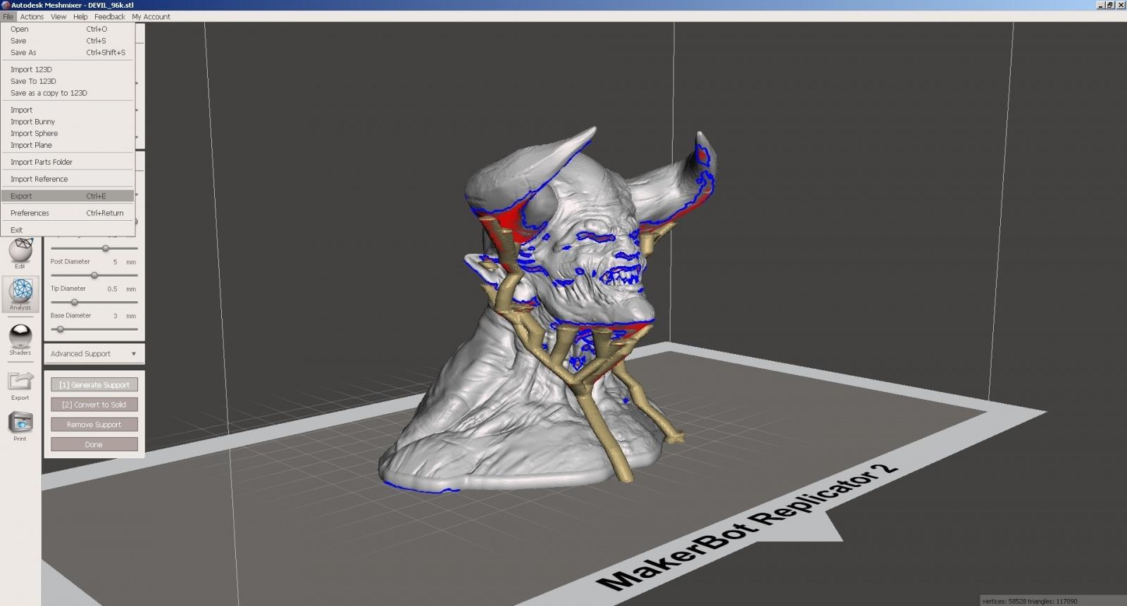 Обзор функции генерации поддержек в Autodesk Meshmixer - 16