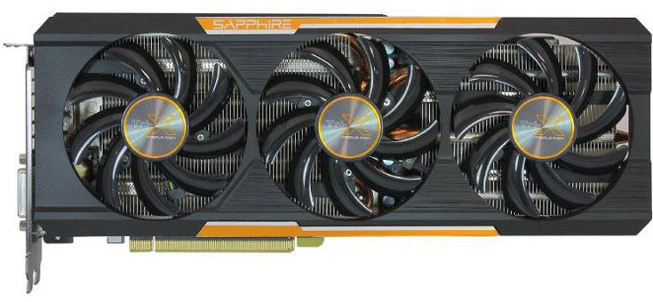 Графический процессор 3D-карты Sapphire Tri-X R9 390X работает на частоте 1055 МГц
