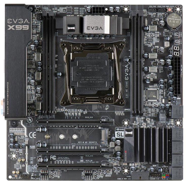 Системная плата EVGA X99 Micro2 рассчитана на процессоры в исполнении LGA2011v3