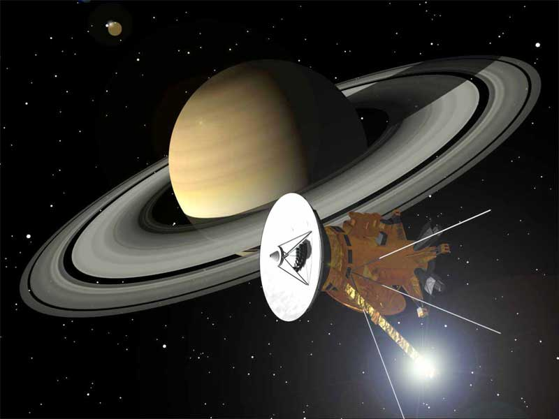 Cassini сфотографировал три спутника Сатурна одновременно - 1