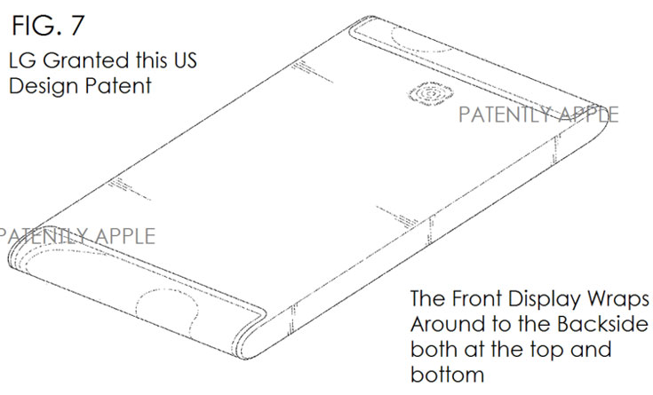 LG патентует смартфон с экраном, загнутым за два края корпуса