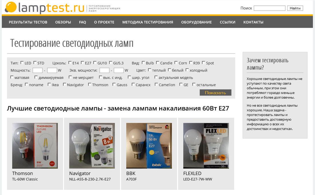 LampTest.ru — тестирование светодиодных ламп - 1