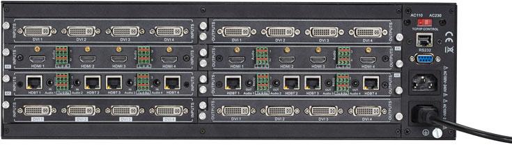 Модель AVS800 имеет максимальную конфигурацию 8 x 8 (четыре модуля), AVS1600 — 16 x 16 (восемь модулей)