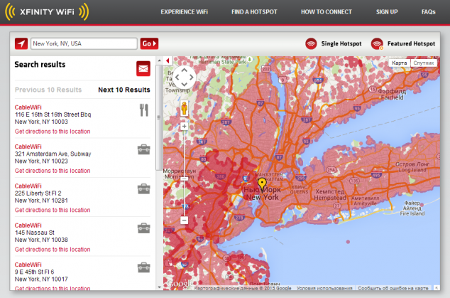 xfinity.com Покрытие Wi-Fi Нью-Йорк