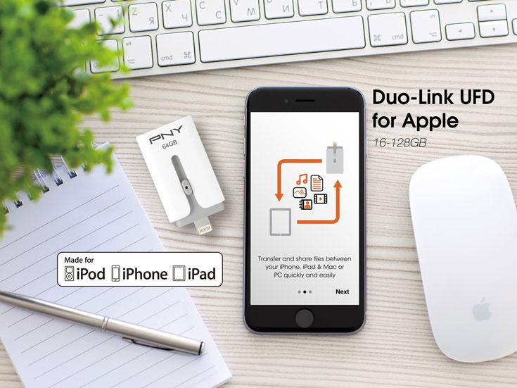 Флэш-накопитель PNY DUO-Link M можно подключать к устройствам с iOS напрямую
