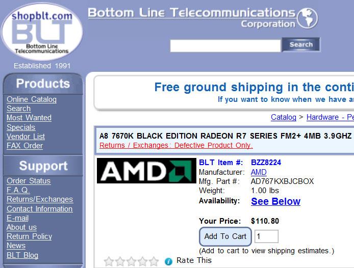 Цена APU AMD A8-7670K примерно равна $110