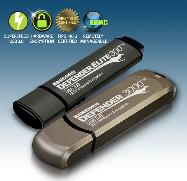 Накопители Kanguru Defender 3000 предложены объемом от 4 до 128 ГБ