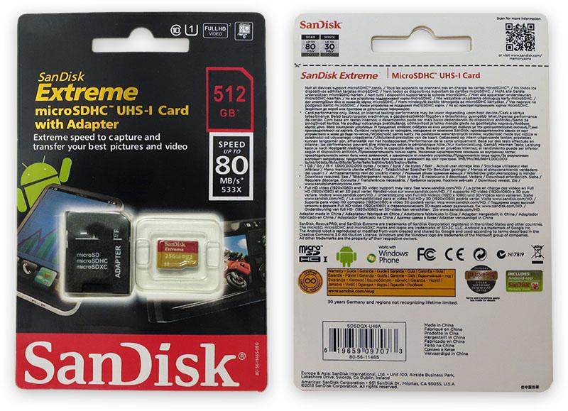 Подделка на Sandisk Extreme 512GB Micro SD