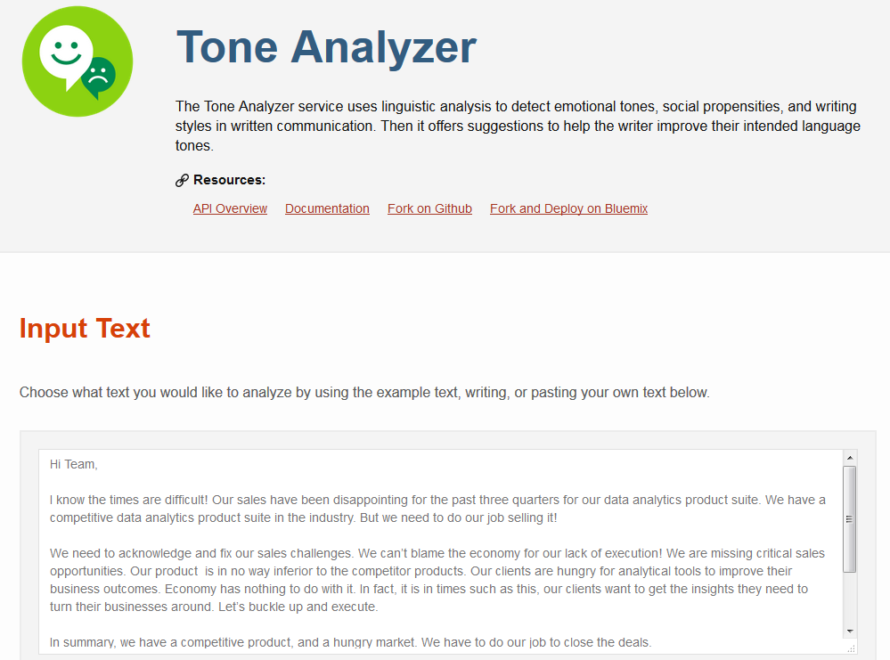 Tone Analyzer demo 1
