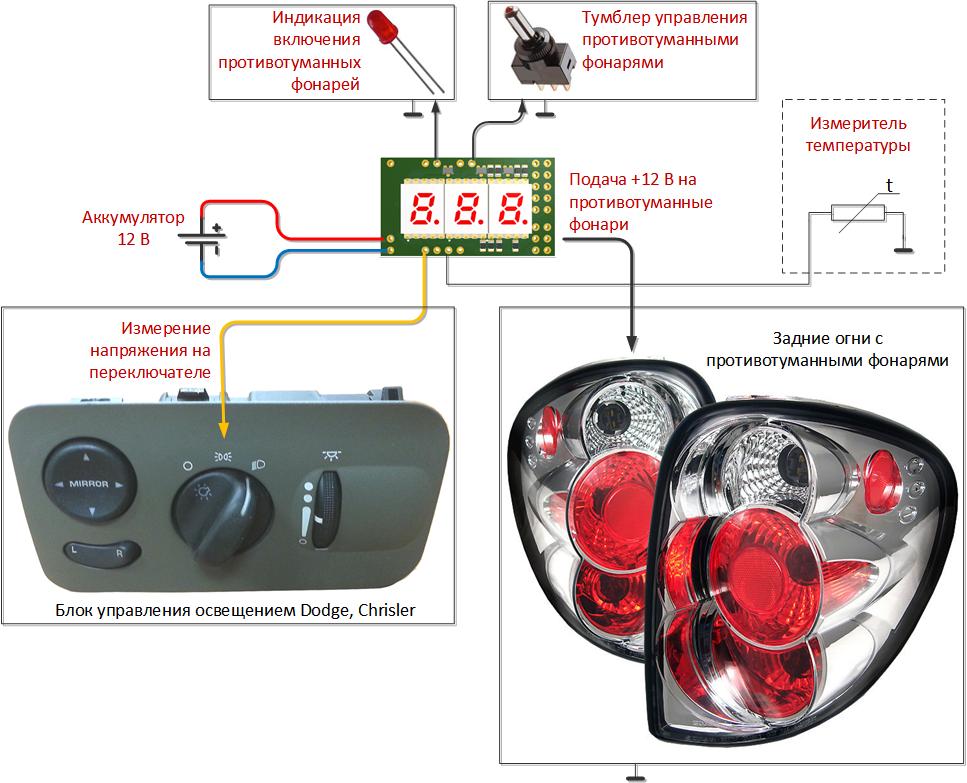 Коммутатор фар и фонарей для автомобиля с контролем состояния аккумулятора и термометрами - 2