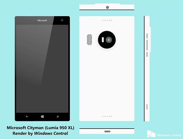 Microsoft Lumia 950 XL (Cityman), рендер