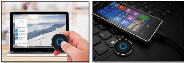 Это кнопка, которая подключается к устройству на базе Windows 10 по Bluetooth, и используется для активации виртуального помощника Cortana